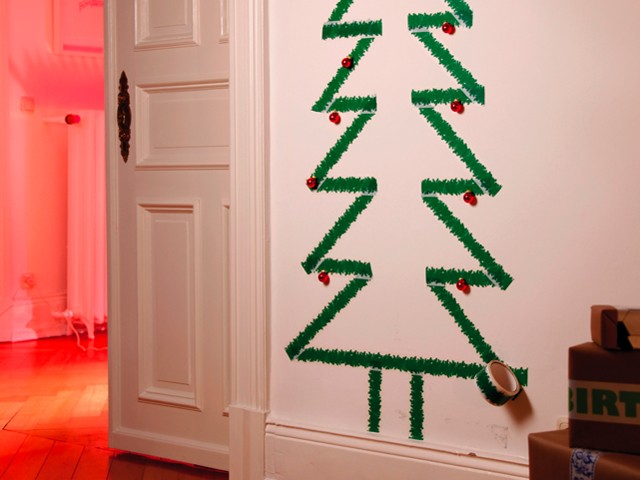 Kerstboom sticker voor op de muur